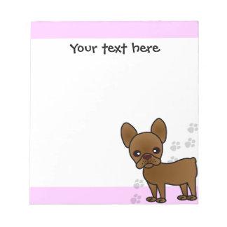 Cute French Bulldog Cartoon Chocolate Notepad