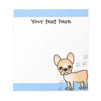 Cute French Bulldog Cartoon Tan Notepad