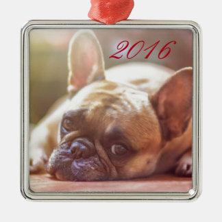 Cute French Bulldog Face, Lying Down Metal Ornament