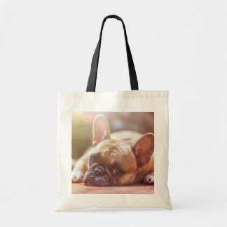 Cute French Bulldog Face, Lying Down Tote Bag