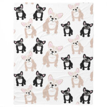 Cute French Bulldog Frenchies Pattern Fleece Blanket