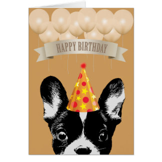 Cute French Bulldog Happy Birthday Card