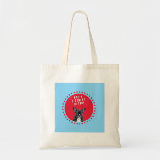 Cute French Bulldog Happy Birthday red dots blue Tote Bag