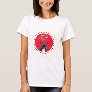 Cute French Bulldog Happy Birthday Red Dots T-Shirt