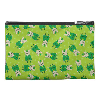 Cute French Bulldog is Feeling Lucky on St. Patric Travel Accessory Bag