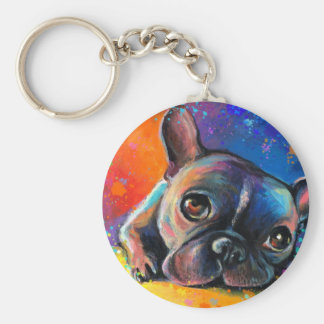 Cute French Bulldog painting Svetlana Novikova Basic Round Button Keychain