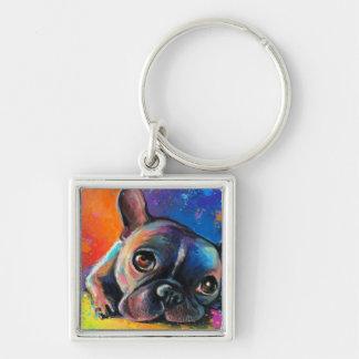 Cute French Bulldog painting Svetlana Novikova Keychain