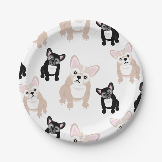 Cute French Bulldog Pattern Paper Plate   Zazzle.com