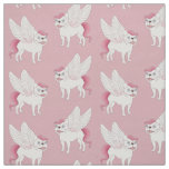 Cute French Bulldog Pegasus in the mythical world Fabric