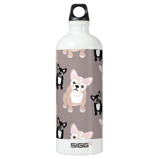 Cute French Bulldog Puppies Aluminum Water Bottle
