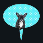 "Cute French Bulldog Puppy Blue Polka Dots Cake Topper<br><div class=""desc"">Cute French Bulldog Blue Polka Dots. for those who loves blue</div>"