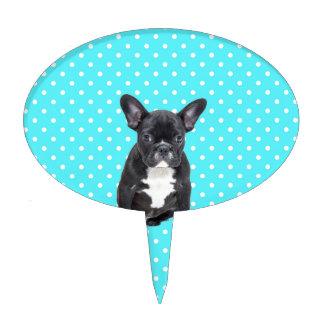 Cute French Bulldog Puppy Blue Polka Dots Cake Topper