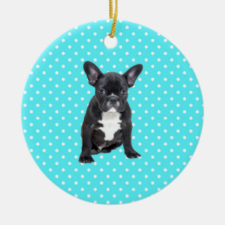 Cute French Bulldog Puppy Blue Polka Dots Ceramic Ornament