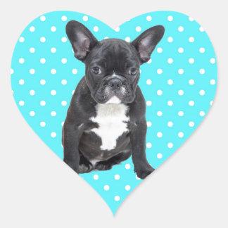 Cute French Bulldog Puppy Blue Polka Dots Heart Sticker