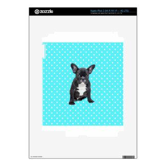 Cute French Bulldog Puppy Blue Polka Dots iPad 3 Skin