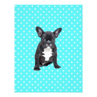 Cute French Bulldog Puppy Blue Polka Dots Letterhead