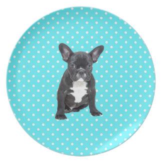 Cute French Bulldog Puppy Blue Polka Dots Melamine Plate