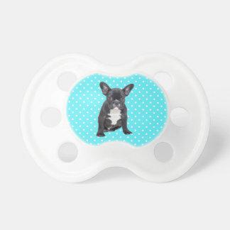 Cute French Bulldog Puppy Blue Polka Dots Pacifier
