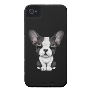 Cute French Bulldog Puppy Dog on Black iPhone 4 Case-Mate Case