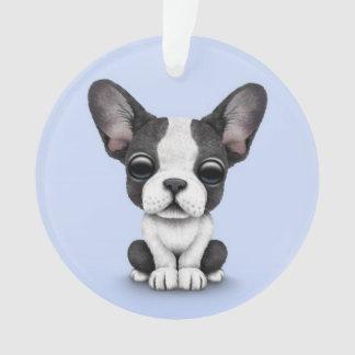 Cute French Bulldog Puppy Dog on Light Blue Ornament