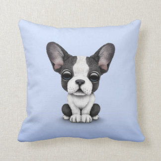 Cute French Bulldog Puppy Dog on Light Blue Throw Pillow