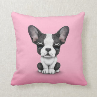 Cute French Bulldog Puppy Dog on Pink Throw Pillow
