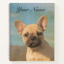 Cute French Bulldog Puppy - Funny Dog Head - Name Notebook