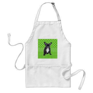 Cute French Bulldog Puppy Green Polka Dots Adult Apron