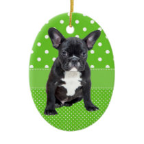 Cute French Bulldog Puppy Green Polka Dots Ceramic Ornament