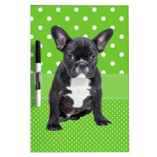 Cute French Bulldog Puppy Green Polka Dots Dry-Erase Board