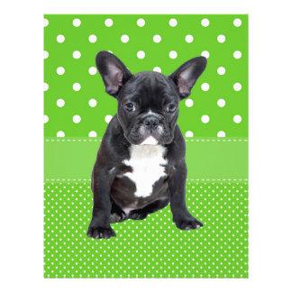 Cute French Bulldog Puppy Green Polka Dots Letterhead