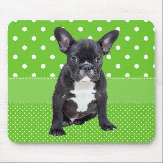 Cute French Bulldog Puppy Green Polka Dots Mouse Pad