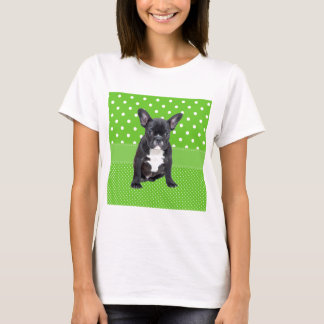 Cute French Bulldog Puppy Green Polka Dots T-Shirt