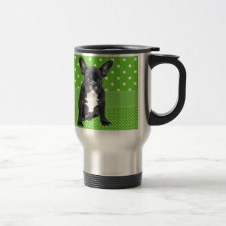 Cute French Bulldog Puppy Green Polka Dots Travel Mug