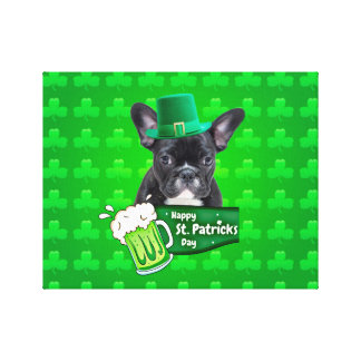 Cute French Bulldog Puppy Hat St. Patrick Day Canvas Print