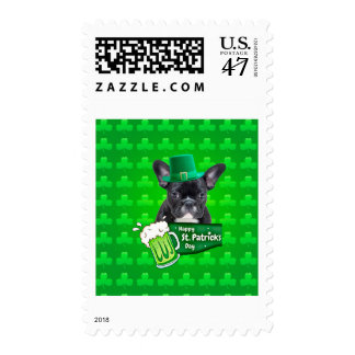 Cute French Bulldog Puppy Hat St. Patrick Day Postage