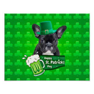 Cute French Bulldog Puppy Hat St. Patrick Day Poster