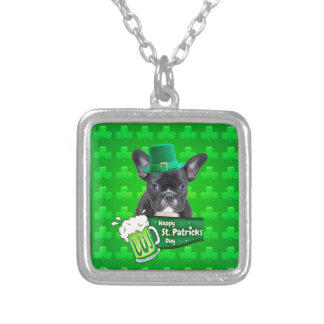 Cute French Bulldog Puppy Hat St. Patrick Day Silver Plated Necklace