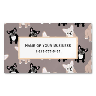 Cute French Bulldog Puppy Pattern Magnetic Business Card