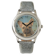 Cute French Bulldog Puppy Portrait - dial-plate Wrist Watch