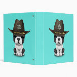 Cute French Bulldog Puppy Sheriff 3 Ring Binder
