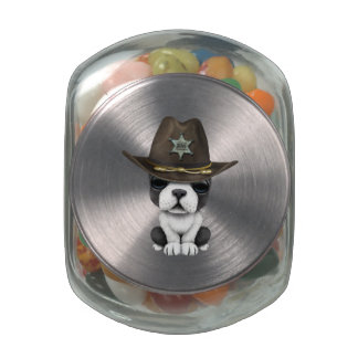 Cute French Bulldog Puppy Sheriff Glass Candy Jars