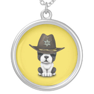 Cute French Bulldog Puppy Sheriff Silver Plated Necklace