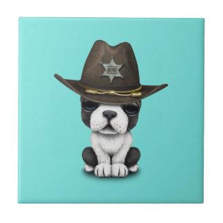 Cute French Bulldog Puppy Sheriff Tile