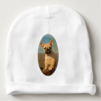 Cute French Bulldog puppy, vintage Baby Beanie