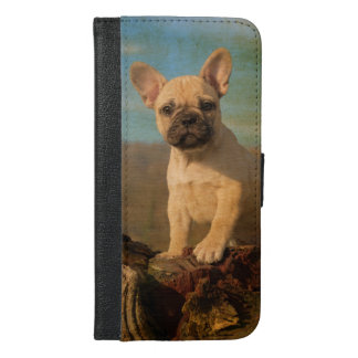 Cute French Bulldog puppy, vintage iPhone 6/6s Plus Wallet Case