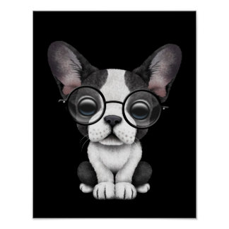 Cute French Bulldog Puppy with Glasses, black Poster