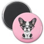 Cute French Bulldog Puppy with Glasses, pink 2 Inch Round Magnet