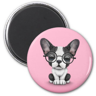 Cute French Bulldog Puppy with Glasses, pink Magnet