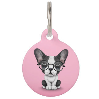Cute French Bulldog Puppy with Glasses, pink Pet ID Tag